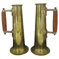 "Antique BRASS Metal 11 1/2"" Beer Mug STEIN Cup Set of 2 with WOOD Handles"