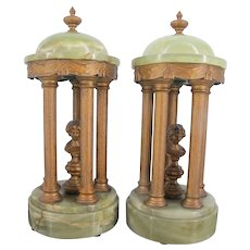 Pair of French NEOCLASSICAL Gilt BRONZE & Green Garniture Follies Column Statues w/Male Busts