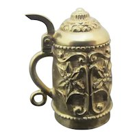 Antique 18k Yellow Gold Functioning BEER STEIN Charm with ORNATE Floral Design