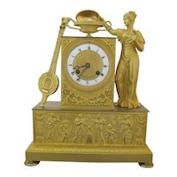 First Empire Fine FRENCH c1800 Gilt BRONZE Aphrodite and Eros Mantel Clock