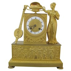 First Empire Fine FRENCH c1800 Gilt BRONZE Aphrodite and Eros Mantel Clock