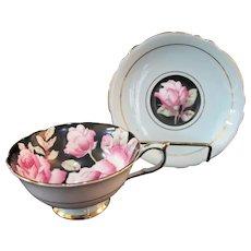 PARAGON Pink ROSE Black Interior Pedestal Cup & Pale Blue Gilt Trim Saucer Set