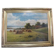 European CAMERON HARKER Oil Painting FARMHOUSE Landscape in Gilt Period Frame