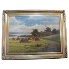 European CAMERON HARKER Oil Painting FARMHOUSE Landscape in Gilt Period Frame