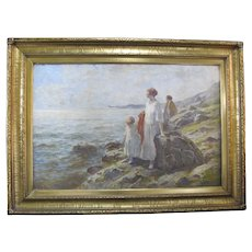 Signed F C LOMBARD Seascape Oil Painting of 2 WOMEN & CHILD in Gilt Period Frame