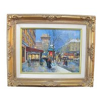 Signed SANDI LEBRON Oil Painting of PORTE St. Deni PARIS in Ornate Gilt Frame