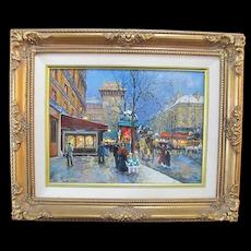 Signed SANDI LEBRON Oil Painting of PORTE St. Deni PARIS in Ornate Gilt Frame