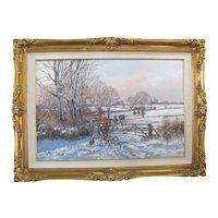 CLIVE MADGWICK Signed WINTER Landscape HUNT Scene Oil Painting Ornate GILT Frame