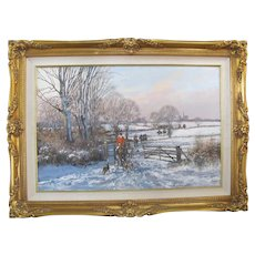 CLIVE MADGWICK Signed WINTER Landscape HUNT Scene Oil Painting Ornate GILT Frame