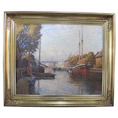 Danish Signed HANS KRUUSE Oil Painting Frederiksholm Canal 1920 Copenhagen Period GILT Frame