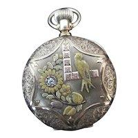 Fine ILLINOIS Diamond 14k  Gold ORNATE Bird Design HUNTERS Case Pocket Watch