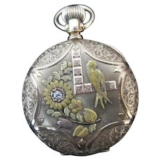 Fine ILLINOIS Diamond 14k  Gold ORNATE Bird Design HUNTERS Case Pocket Watch