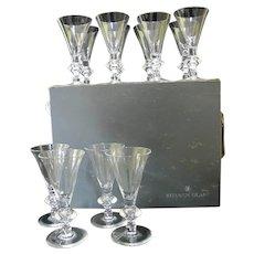 "STEUBEN 7737 Pattern WATER Wine 7 1/4"" Clear 12pc Glass w/Original Box & Bags"