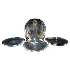 "STEUBEN Clear Glass 7737 Pattern SALAD Dessert Deep Plate 4pc w/Pouch 8.25"""