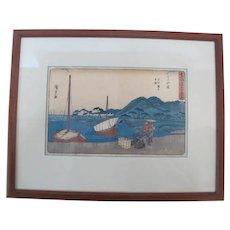 HIROSHIGE Japanese Woodblock MAISAKA STATION on Tokaido 53 Stages Print