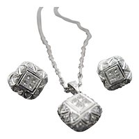 DIAMOND & 18k White Gold Cushion FILAGREE Earring Necklace Set