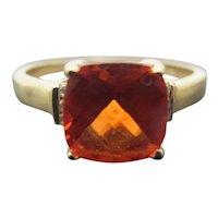 14k Yellow Gold Orange 8mm MORGANITE Diamond Ring Size 7