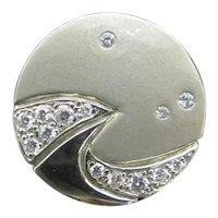 Unique MODERNIST 18k White Gold Diamond Star COMET Space Necklace Pendant