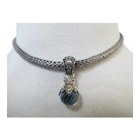 "JOHN HARDY Sterling Silver 18k Blue TOPAZ Drop Pendant 16"" Rope Chain Necklace"