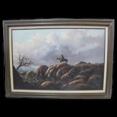 JORGE Tarallo BRAUN Native American on Horse WESTERN Landscape Oil Painting