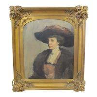 Antique PORTRAIT of an Elegant WOMAN in Elaborate Art Nouveau Gilt Frame