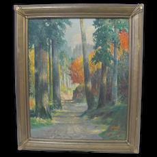 Frederick Southworth Autumn Oil Painting Washington Woods October 1928