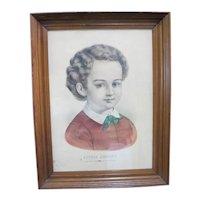 CURRIER & IVES Antique Hand Colored Print LITTLE JOHNNY Child Boy Portrait