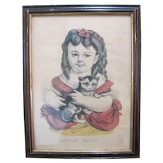 CURRIER & IVES Antique Hand Colored Print LITTLE KITTY Child Girl Cat Portrait