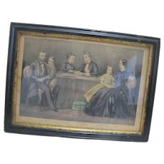 Currier and Ives 1867 Original Frame 1st Colored Engraving GENERAL GRANT & FAMILY
