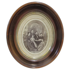 US General GRANT & Family Lithograph Black & White Portrait in Period Oval Frame