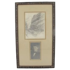 FRANK Tenney JOHNSON Signed 1910 Original SKETCH of California Mountain Pass