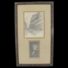 FRANK Tenney JOHNSON Signed 1910 Original SKETCH of California Mountain Pass