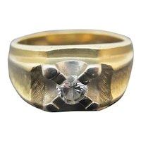 Vintage MODERNIST Style 14k Yellow Gold & Diamond Chunky Men's Ring 9.5