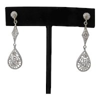 Elegant EDWARDIAN Style Vintage White Gold DIAMOND Drop Dangle Earrings
