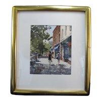 Paul Rafferty New York Shopping on Main St Gilt Framed Watercolor Painting