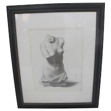 Seattle SUSAN BARI PRICE Contemporary Nude VENUS Bust Framed Charcoal Drawing