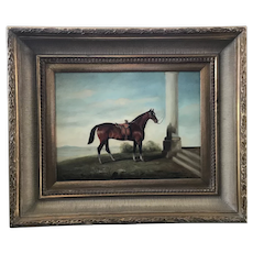Early 20th Century W. LARSEN Gilt Framed Equestrian HORSE British Oil Painting