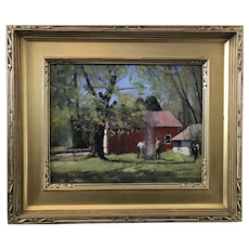 Paul Rafferty Gilt Framed Oil Painting BEHIND the WHALING MUSEUM