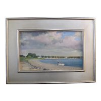 Paul Rafferty Gilt Framed Nautical Boat Scene Oil Painting SAG HARBOR CLOUDS