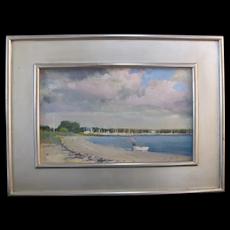 Paul Rafferty Gilt Framed Nautical Boat Scene Oil Painting SAG HARBOR CLOUDS