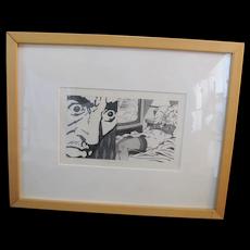 Kevin T Kelly Modern Erotic Pop Art Framed GRAPHITE on Paper for SILK STALKINGS