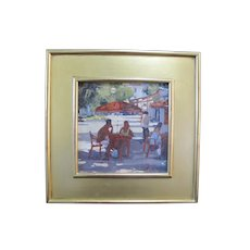 PAUL RAFFERTY New York Figural Lunch in Cannes Gilt Framed Oil Painting