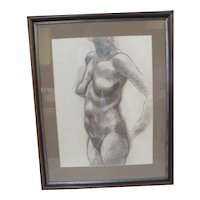 HARRY WIDMAN Framed Charcoal & Pencil on Paper FEMALE NUDE Portrait