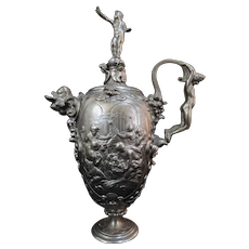 VICTORIAN Antique Figural BIRTH of CHRIST Angel & Dolphin Silver Plate URN w/Lid