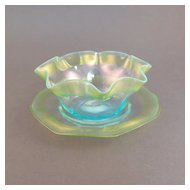 Stevens & Williams art glass finger bowl and plate, opalescent blue & yellow