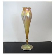 Tall L.C. Tiffany 1912 Gold Iridescent Favrile Floriform Vase