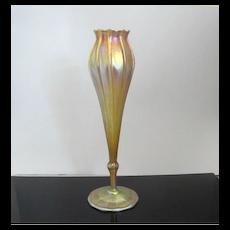 Tall Vintage L.C. TIFFANY 1912 Gold Iridescent Favrile Floriform Flare Lip Vase