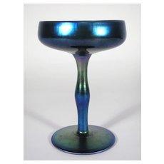 Iridescent Blue Aurene 2642 STEUBEN Art Glass Tall Compote