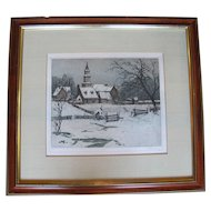 Signed Original Color Etching by Josef EIDENBEGER WIlliamsburg, Winter