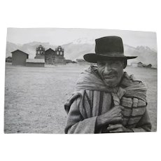 Vintage Photograph Quechua PEASANT FARMER Peruvian Andes Near Cusco Paul S Conklin